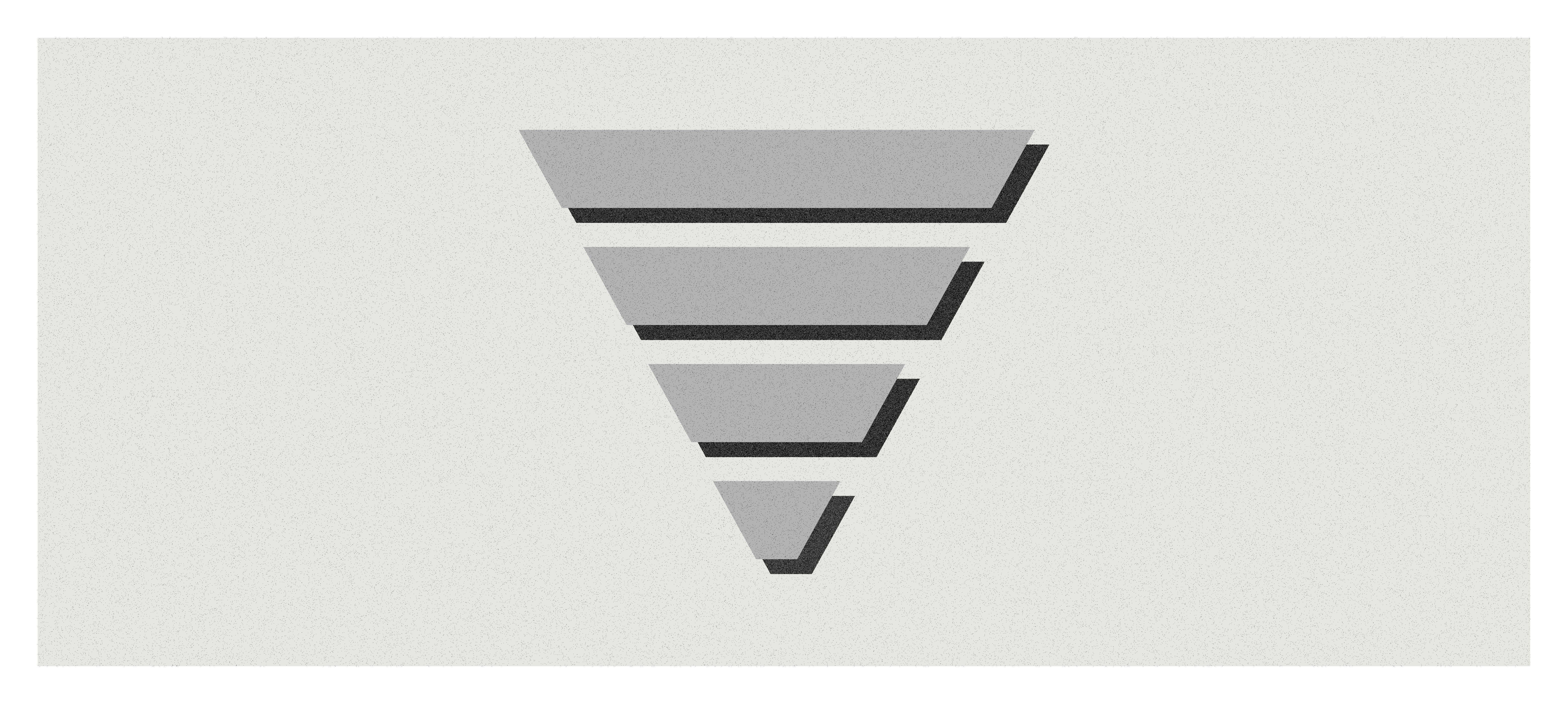 An illustration of a gray and black marketing funnel against a gray background.